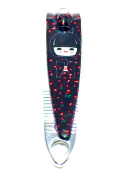 METAL NAIL CLIPPERS SCISSORS, FILE, HAIR, TWEEZERS DOLL FACE HANDBAG BLACK SILVER