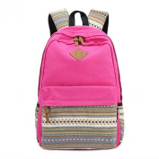 TOOGOO(R) Ladies Vintage Canvas Backpack Retro Vintage backpack for outdoor camping picnic Sports University backpack schoolbag Rose Red