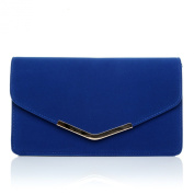 LUCKY Electric Blue Suede Medium Size Clutch Bag