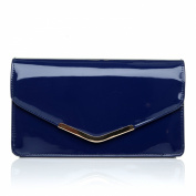 LUCKY Navy Blue Patent Medium Size Clutch Bag