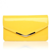 LUCKY Yellow Patent Medium Size Clutch Bag