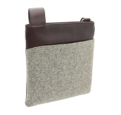 Mala Leather ABERTWEED Collection Leather & Tweed Cross Body Bag 752_40 Herringbone