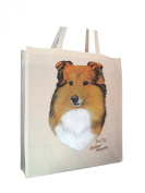 Shetland Sheepdog Sheltie RM Breed of Dog Cotton Shopping Bag with Gusset and Long Handles Perfect Gift