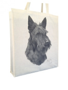 Scottish Terrier Scottie MS Cotton Shopping Bag with Gusset and Long Handles Perfect Gift