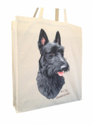 Scottish Terrier Scottie RM Cotton Shopping Bag with Gusset and Long Handles Perfect Gift