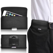 N4U Online® - Plum Sync 4.0 PU Leather Horizontal Belt Pouch Holster Protective Case Cover Pouch With Secure Belt Clip Loop - Black