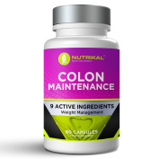 Colon Maintenance Formula by Nutrikal - Extra Strength Cleanse and Detox Supplement - Support Regularity, Toxin Elimination and Constipation Relief - With Alove Vera, Rhubarb, Barberry Bark Powder, Capsicum Extract, Dandelion Root, Fennel, Ginger Extra ..