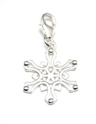 Genuine Silver 925 snowflake clip on charm ideal for Thomas Sabo bracelet or necklace