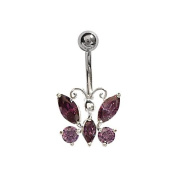 FranceBijoux Purple Butterfly Stone Belly & Silver in Surgical Stainless Steel