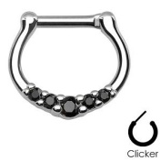 Piercing Boutique Surgical Steel Five Gem Paved Septum Clicker Nose Daith Ring 16g (1.2mm) One Piece - Black