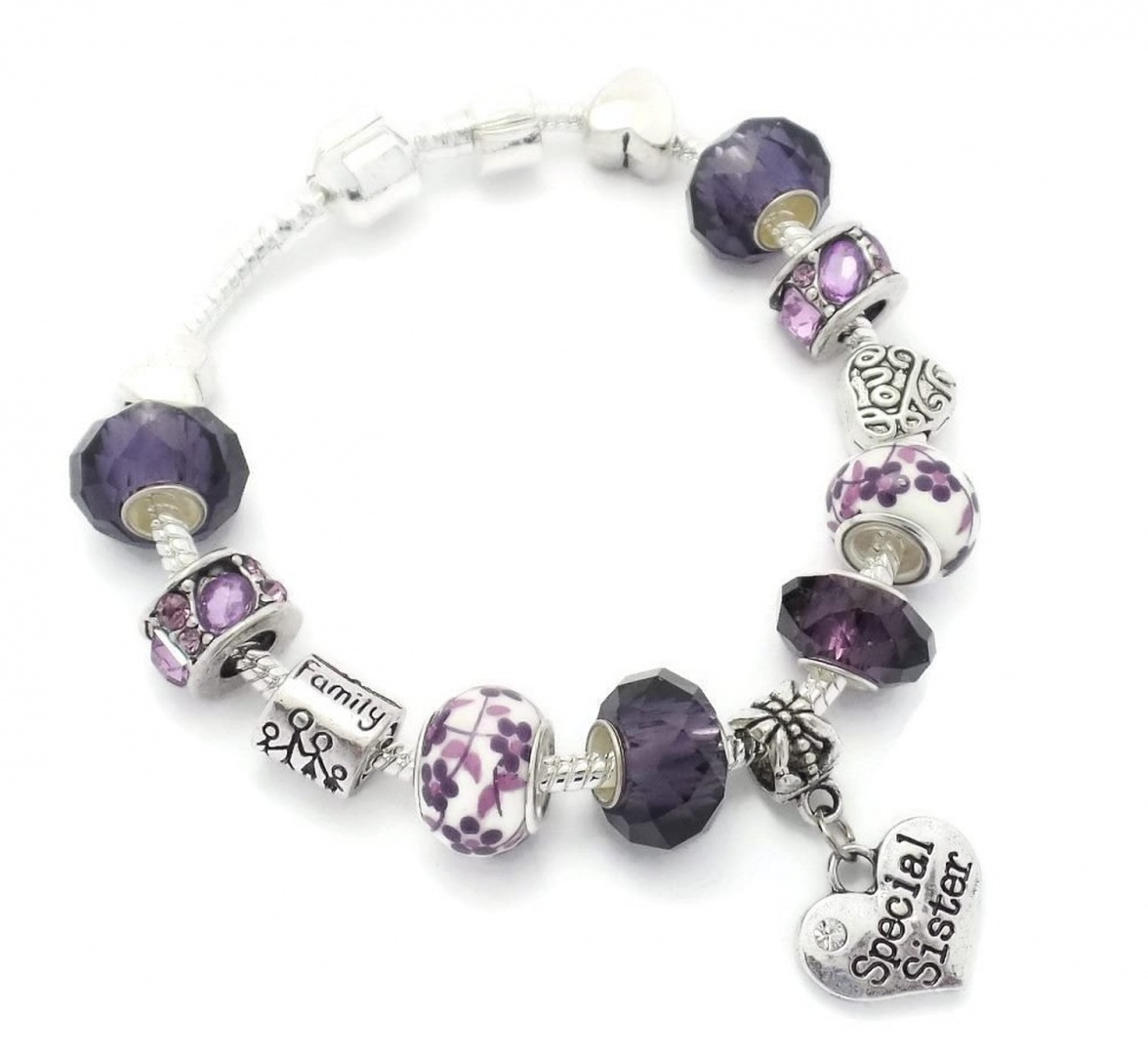 Truly Charming Purple Special SISTER Starter Charm Bracelet Pandora Style Gift Boxed 20cm lz9bBa