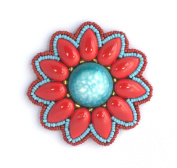 Round turquoise Flower Brooch-Red-Made from porcelain and Glass Beads-Costume Jewellery