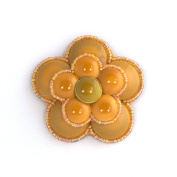 Brooch Porcelain Camellia Gold-Plated-Costume Jewellery-Craft