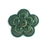 Camellia Flower Brooch Green Porcelain-Costume Jewellery-Craft