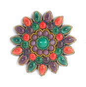 Porcelain Big Flower Brooch Green, Purple and Red, Fashion Jewellery,