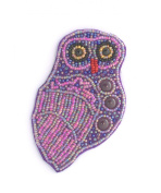 Purple Owl Brooch Made of Porcelain and Glass Beads-Costume Jewellery