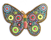 Large Butterfly Broach Coloured Glass and Porcelain Beads-Costume Jewellery