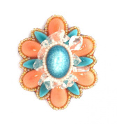 Flower Brooch Red and Small Oval Porcelain Blue quartz, Crystal and Glass Beads-Fashion Jewellery