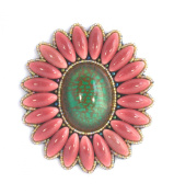 Brooch Flower Design Pink and Green Large Oval Porcelain Beads and Glass-Costume Jewellery