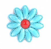 Brooch Flower Daisy Red Medium turquoise-Made from porcelain and Glass Beads-Costume Jewellery
