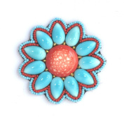Flower Brooch Red and Glass and Porcelain Round turquoise Beads-Costume Jewellery