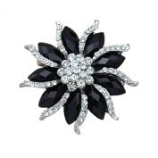 Sanwood Women's Blossom Flower Brooch Black Crystal Rhinstones Pin