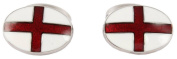 White/Red St George Flag Enamel Cufflinks by David Aster