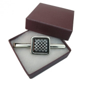 Handmade Chess Board Game Themed - Silver Plated Mens Square Tie Pin Slide - Gift Boxed