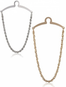 Elite Status 2-Pc Tie Chain Set For Neckties, Silver And Gold W/ Deluxe Puentes Denver Gift Box