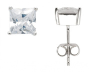 Pierced Earrings with Classic Solitaire Setting and Zirconia from 925 Sterling Silver