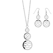 FranceBijoux FLASH Sale & Necklace and Earrings Set for Women 925 Solid Silver Rhodium-Plated 44 13gr cm-New