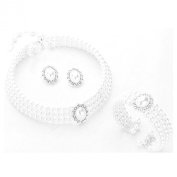 Bridal Choker Necklace Earrings Jewellery Set White Pearls and Clear Crystal Bracelet