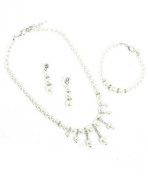 Bridal Jewellery Set Earrings Necklace Bracelet Set White Pearls and Clear Crystal