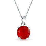 Bling Jewellery Simulated Ruby CZ July Birthstone Pendant Necklace 46cm Sterling