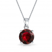 Bling Jewellery Simulated Garnet CZ January Birthstone Pendant Necklace Sterling
