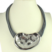 Large silver hammered abstract chunky pendant grey cord choker necklace fashion jewellery