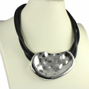 Large silver hammered abstract chunky pendant cord choker necklace statement fashion jewellery