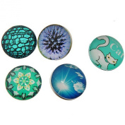 Souarts Mixed Cat Flower Sky Round Glass Snap Button Fit DIY Bracelets 18mm Pack of 10pcs