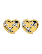 Gold and Silver Plated Cabouchon Heart Clip-on Earrings