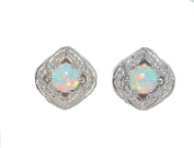 Beautiful Opal Round Stud Earrings .925 Sterling Silver Rhodium Finish [Jewellery]
