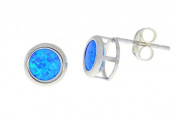 Blue Opal Round Bezel Stud Earrings .925 Sterling Silver Rhodium Finish