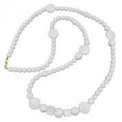 Necklace, Beads white glossy, pearl white leaf