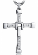 Movie Inspired F & F Silver Plate Diamante Cross Pendant Necklace
