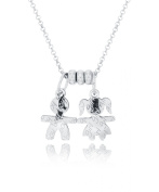 Padre Nostro Rolo Necklace 50 cm Long with Boy and Girl Pendants in Rhodium-Plated 925 Silver