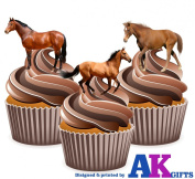 12 X Farm Animals Horse Mix EDIBLE WAFER CARD CAKE TOPPERS STAND UPS