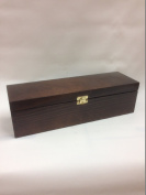Lacquered Wine Box Dark Brown Gift Present Case Carrier with clasps- 1 bottles
