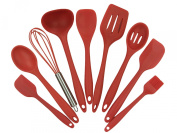 Joyoldelf 9-Piece Silicone Baking Set - Spatulas, Spoons & Turner - Heat Resistant Cooking Utensils