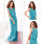 Blue Drape Crop Top Dress - size 8