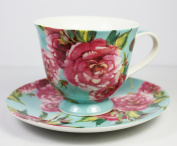Chintz Rose, Fine China Cup and Saucer (Blue) From The Leonardo Collection, Cup