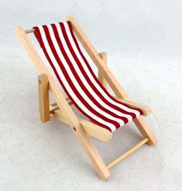 Dolls House Miniature 1:12 Garden Beach Furniture Red Stripe Folding Deck Chair